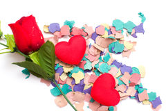 De confettien en namen toe Stock Fotografie