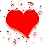 De confettienhart van de valentijnskaart Stock Foto