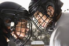 De confrontatie van het ijshockey. stock afbeelding
