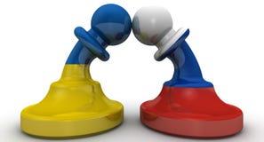 De confrontatie van Rusland en de Oekraïne Concept vector illustratie