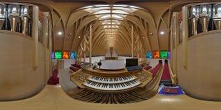 De Console van het pijporgaan in Heilige Joseph Catholic Church, ralja van Zetevà ¡ (Subcetate), Roemenië Stock Foto