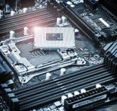 De contactdoos en de bewerker van cpu op motherboard stock foto