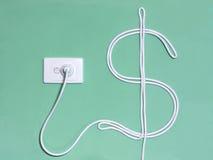 De contactdoos van de elektriciteitsmuur en machtskoord in het dollarteken Royalty-vrije Stock Afbeeldingen
