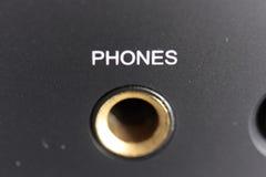 De contactdoos van telefoons op versterker Stock Foto