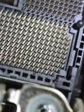 De contacten van een contactdoos van de bewerker cpu sluiten omhoog stock afbeeldingen