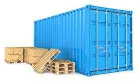 De Container en de Goederen van de lading. Stock Foto's