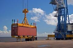 De container van de kraan Stock Foto