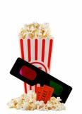 De container van de popcorn met 3D glazen Stock Afbeeldingen