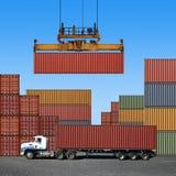 De Containers van de vracht Stock Foto's
