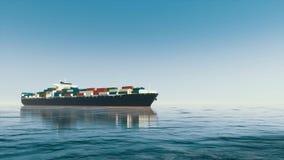 De containerschip van de Brandless 3D lading bij open zee royalty-vrije illustratie