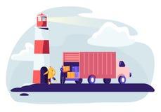 De Containerschip van het logistiekvervoer met Vrachtwagen voor industrieel gebruik De invoer en de Uitvoer in de Yard van de Ver stock illustratie