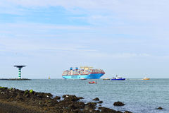 De containerschip van Maersk mc-Kinney moller Stock Foto's