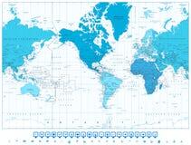 De continenten van de wereldkaart in kleuren van blauw Amerika in centrum Royalty-vrije Stock Afbeeldingen