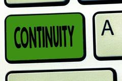 De Continuïteit van de handschrifttekst Concept die Ongebroken verenigbare bestaansverrichting van iets na verloop van tijd betek royalty-vrije stock afbeelding