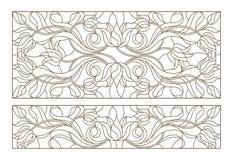 De contour met gebrandschilderd glasillustraties wordt geplaatst met abstracte symmetrische Tulp bloeit, donkere contouren op wit Stock Afbeeldingen