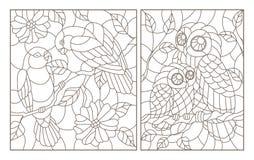 De contour met illustraties in de stijl van gebrandschilderd glas met vogels, een paar papegaaiendwergpapegaaien en uil met jonge stock illustratie