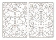 De contour plaatste met Christelijke kruis en bloemen, zwarte contour op witte achtergrond royalty-vrije illustratie