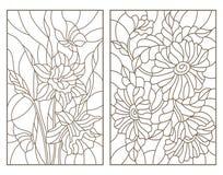 De contour plaatste met illustraties in de gebrandschilderd glasstijl met bloemen, gele narcissen met vlinders en een boeket van  Stock Afbeelding