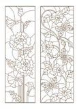 De contour plaatste met illustraties met papavers en bloemen met vlinders, donkere contouren op witte achtergrond Royalty-vrije Stock Fotografie