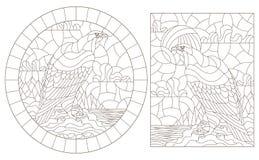 De contour plaatste met illustraties van gebrandschilderd glasvensters met adelaars op de achtergrond van landschappen, donkere c stock illustratie