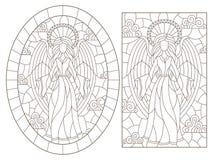 De contour plaatste met illustraties van gebrandschilderd glasvensters met engelen op een bewolkte hemelachtergrond, donkere cont vector illustratie