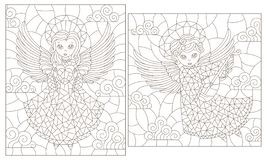 De contour plaatste met illustraties van gebrandschilderd glasvensters met leuke engelen op een achtergrond van de wolkenhemel, d royalty-vrije illustratie