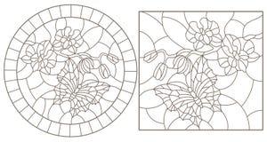 De contour plaatste met illustraties van gebrandschilderd glasvensters met vlinders en orchideeën, ronde en rechthoekige beelden royalty-vrije illustratie