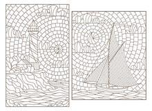 De contour plaatste met illustraties van gebrandschilderd glasvensters met zeegezichten, zeilboot en vuurtoren op de achtergrond  stock illustratie