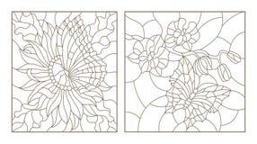 De contour plaatste met illustraties van het gebrandschilderde glas met vlinders en bloemen, Orchidee en Astervlinder, zwarte con stock illustratie
