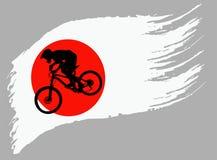 De contour van de fietser op de vlag van Japan stock illustratie