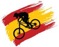De contour van de fietser op de vlag van Spanje royalty-vrije illustratie