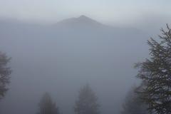 De contouren van de de bergpieken en bossen in de mist royalty-vrije stock afbeelding