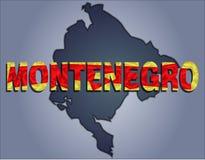 De contouren van grondgebied van Montenegro en Montenegro woord in de kleuren van de nationale vlag royalty-vrije illustratie