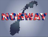 De contouren van grondgebied van Noorwegen en het woord van Noorwegen in kleuren van de nationale vlag vector illustratie