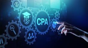 De Controle van bedrijfs CPA Certified Public Accountant concept op het virtuele scherm stock afbeelding