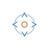 De controle van vier richtingspijlen knoopt lijnpictogram, illustratie van het overzichts de vectorembleem, lineair die pictogram royalty-vrije illustratie