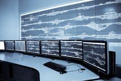 De controlekamer van de spoorweg Stock Foto