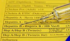 De controlelijst van de inenting Stock Afbeeldingen
