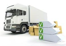 De controlelijst van de vrachtwagenlevering Stock Afbeelding