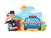 De controlepost van de verkeerspolitie royalty-vrije illustratie