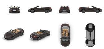 De convertibele sportwagen geeft reeks vanuit verschillende invalshoeken op een wit terug 3D Illustratie royalty-vrije illustratie