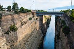 De Corinth-kanaallandengte van Corinth in Griekenland Stock Fotografie