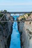 De Corinth-kanaallandengte van Corinth in Griekenland Stock Foto's