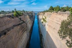 De Corinth-kanaallandengte van Corinth in Griekenland Stock Foto