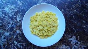 De cornflakes vullen een plaat in stock video