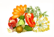 De couper légumes frais décoratifs Photo stock