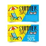 De coupon van de de zomerverkoop Stock Afbeeldingen