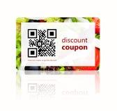 De coupon van de voedselkorting met qrcode over wit wordt geïsoleerd dat royalty-vrije stock fotografie