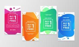 De couponkorting koopt één krijgt één vrije reeks van de verkoopbanner Moderne vloeibare ontwerpsjabloon kleurrijke speciale aanb stock illustratie