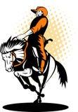 De cowboy berijdend bucking wild paard van de rodeo stock illustratie